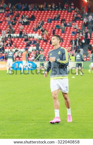 BILBAO, SPAIN - SEPTEMBER 23: Cristiano Ronaldo in preheating the match in the San Mames Stadium, on September 23, 2015 in Bilbao, Spain - stock photo
