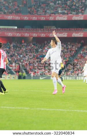 BILBAO, SPAIN - SEPTEMBER 23: Cristiano Ronaldo in the match of the San Mames Stadium, on September 23, 2015 in Bilbao, Spain - stock photo