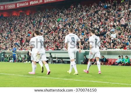 BILBAO, SPAIN - SEPTEMBER 23: Cristiano Ronaldo, Karim Benzema and Mateo Kovacic after the celebration a goal in the San Mames Stadium, on September 23, 2015 in Bilbao, Spain - stock photo