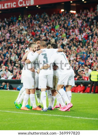 BILBAO, SPAIN - SEPTEMBER 23: Isco, Pepe, Karim Benzema and Cristiano Ronaldo are celebrating a goal in the San Mames Stadium, on September 23, 2015 in Bilbao, Spain - stock photo