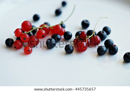 bilberries and red currants