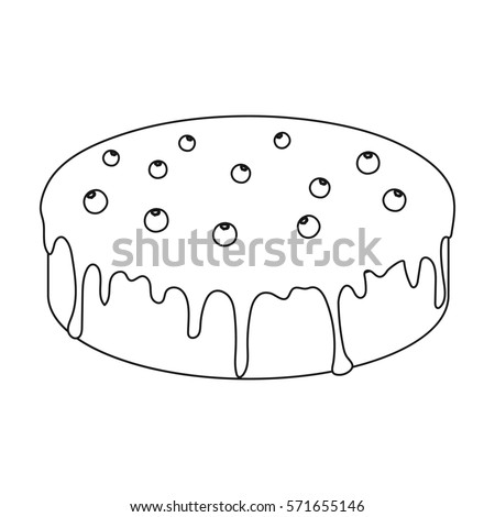 Bilberry Cake Icon In Outline Style Isolated On White Background Cakes Symbol Stock Bitmap