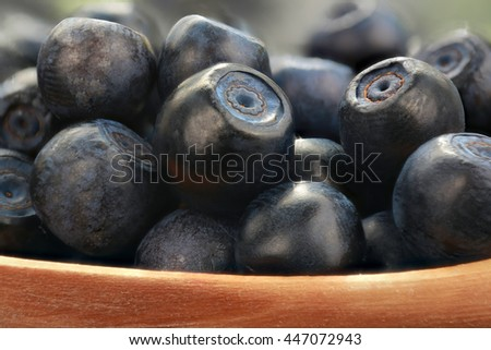 bilberry on a black table