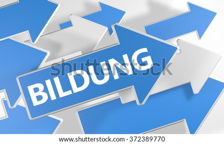 Bildung - german word for education - 3d render concept with blue and white arrows flying over a white background. - stock photo