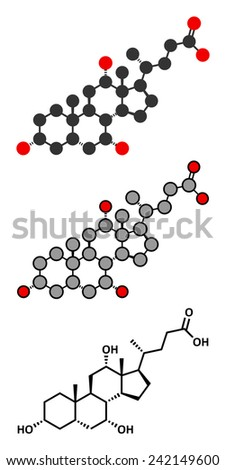 Bile acid (cholic acid, cholate) molecule. Cholic acid is the main bile acid in humans. Conventional skeletal formula and stylized representations. - stock photo