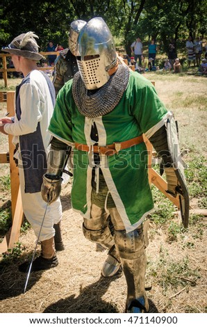 BILHOROD-DNISTROVSKYI, UKRAINE - JUL 16: Knight's fighting at the festival in the Akkerman Fortress, 16 Jule 2016, Ukraine