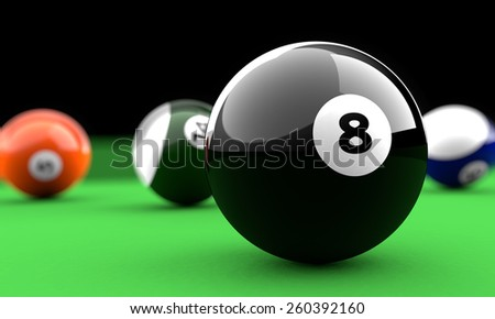 Biliard balls on a green table with the black one in front - stock photo