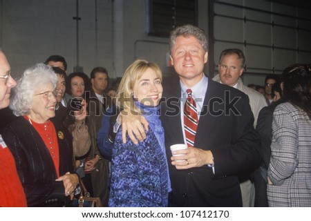 Bill and Hillary Clinton at a St. Louis campaign rally in 1992, Bill Clinton's final day of campaigning in St. Louis, Missouri - stock photo