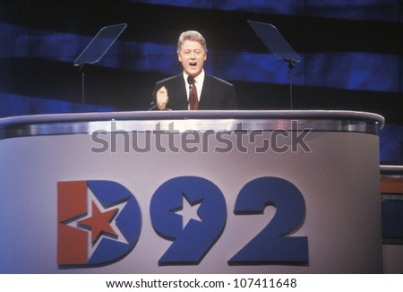 Bill Clinton gives his nomination speech at the Presidential celebration of the 1992 Democratic Convention in Madison Square Garden, Manhattan, New York - stock photo