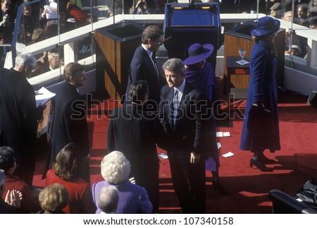 Bill Clinton, 42nd President, shakes hands on Inauguration Day January 20, 1993 in Washington, DC - stock photo