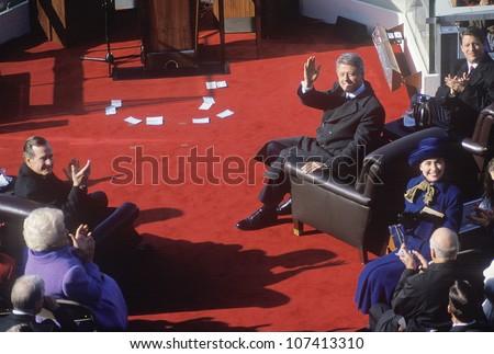 Bill Clinton, 42nd President, waves on Inauguration Day 1993, Washington, DC - stock photo
