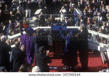 Bill Clinton, 42nd President, waves to the crowd on Inauguration Day January 20, 1993 in Washington, DC - stock photo