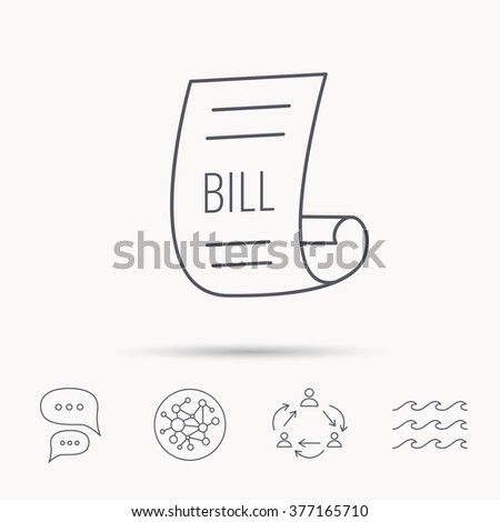 Bill Icon Pay Document Sign Business Stock Illustration - Invoice ocean