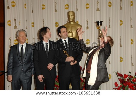 Bill Maher and James Marsh with Simon Chinn and Philippe Petit  in the Press Room at the 81st Annual Academy Awards. Kodak Theatre, Hollywood, CA. 02-22-09