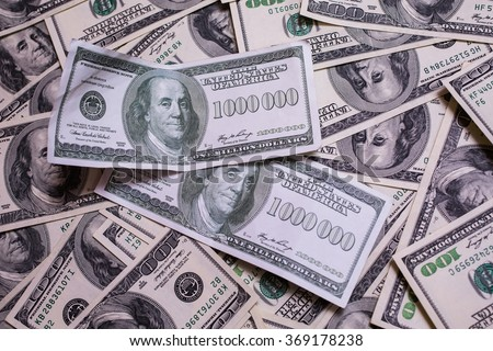 bill of one million dollars, a new brilliant idea, a million dollars, the thirst for wealth, success, get rich millionaire, background of the money,background of dollars, old hundred-dollar bill face - stock photo