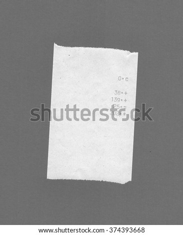 Bill or receipt isolated over grey background