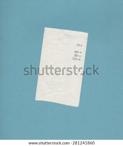 bill or receipt isolated over linght blue background - stock photo