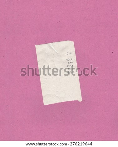 bill or receipt isolated over pink background