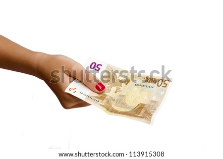 bill paying hand isolated on white background