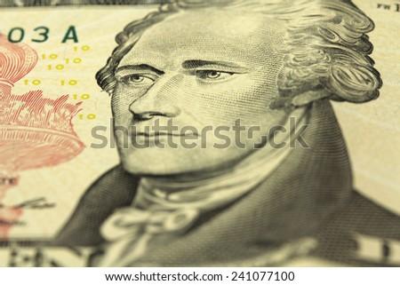 bill ten American dollars closeup - stock photo