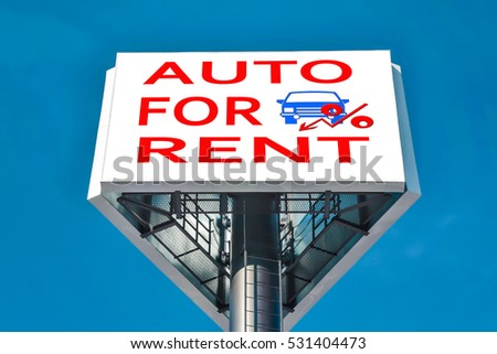 Billboard advertising car sales . The concept of changes in market prices