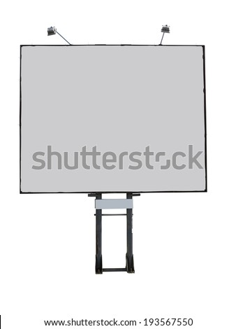 Billboard advertising panel with empty space and light projectors  isolated over white background - stock photo