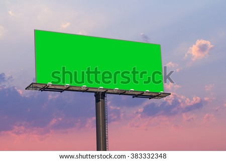 Billboard and Sunset sky in evening. - stock photo