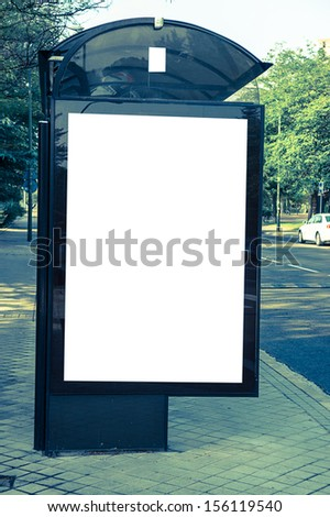 billboard at bus station - stock photo
