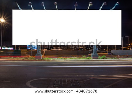 billboard blank for outdoor advertising poster or blank billboard at night time for street