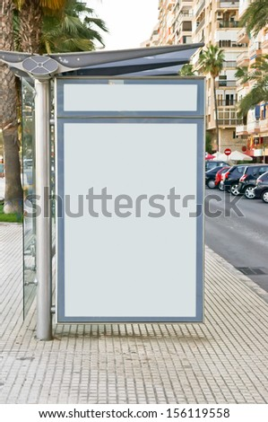 billboard in bus station - stock photo