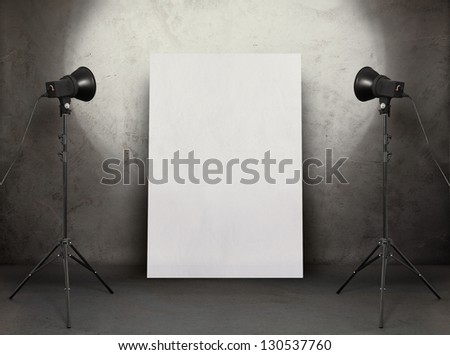 billboard in old studio, urban background with placard - stock photo