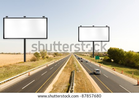 Billboard on american toll way - stock photo