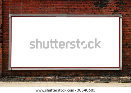 Billboard on brick wall - stock photo