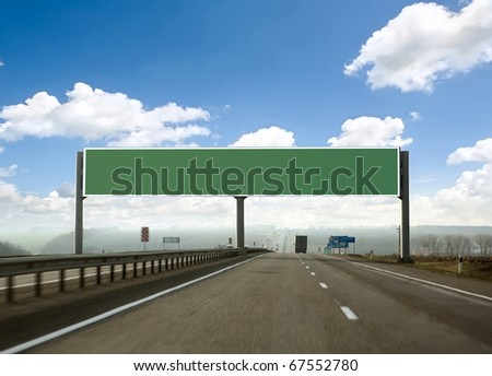 billboard on the highway. Skyline - stock photo