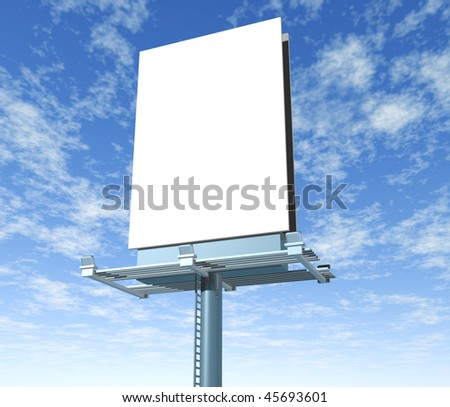 Billboard vertical angled outdoor display with sky background