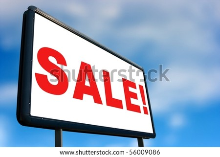 Billboard with blue sky background - stock photo
