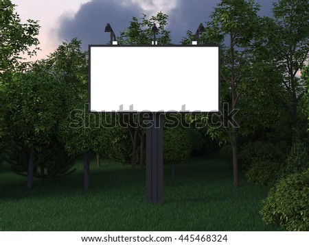 Billboard  with clean white blank for branding design, advertising, photo or text in the park. Mock up canvas and trees on the night or evening street. 3d illustration - stock photo