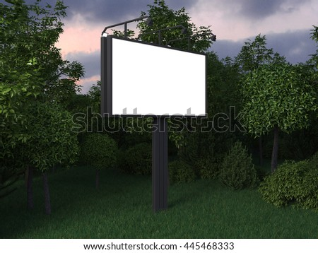 Billboard  with clean white blank for branding design, advertising, photo or text in the park. Mock up canvas and trees on the night or evening street. 3d illustration