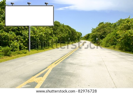Billboard with copy-space near road - stock photo