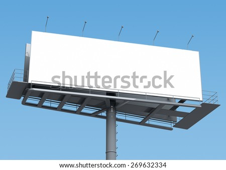 Billboard with empty screen, against blue sky