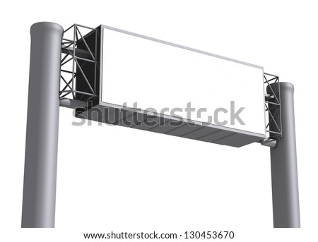 Billboard with empty screen, against white background - stock photo