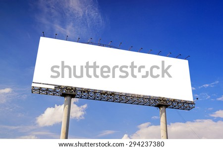Billboard with empty screen on blue sky and white cloud.