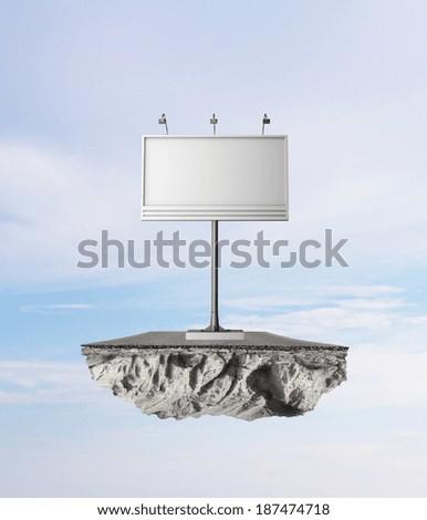 Billboard with empty screen on island - stock photo