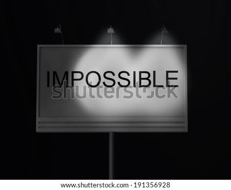 Billboard with impossible text, close up - stock photo