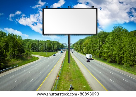Billboard with Stormy Sky on american toll way