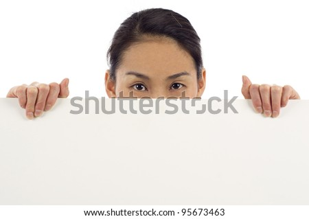 Billboard woman looking over sign isolated over white background