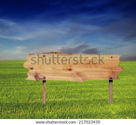 billboard wooden close-up in nature background - stock photo