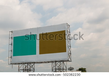 Billboards empty With two colors on the steel structure