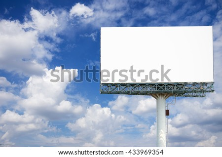 Billboards isolated on sky background - for the display products.