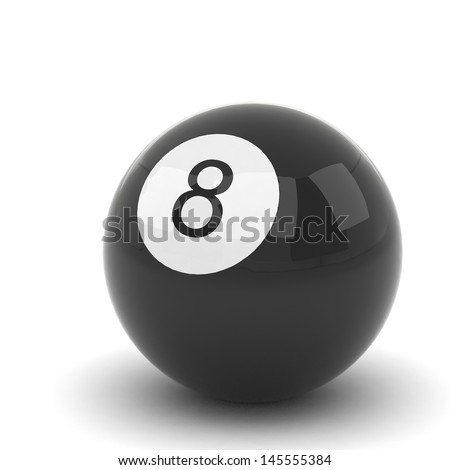 Billiard ball isolated on white - stock photo